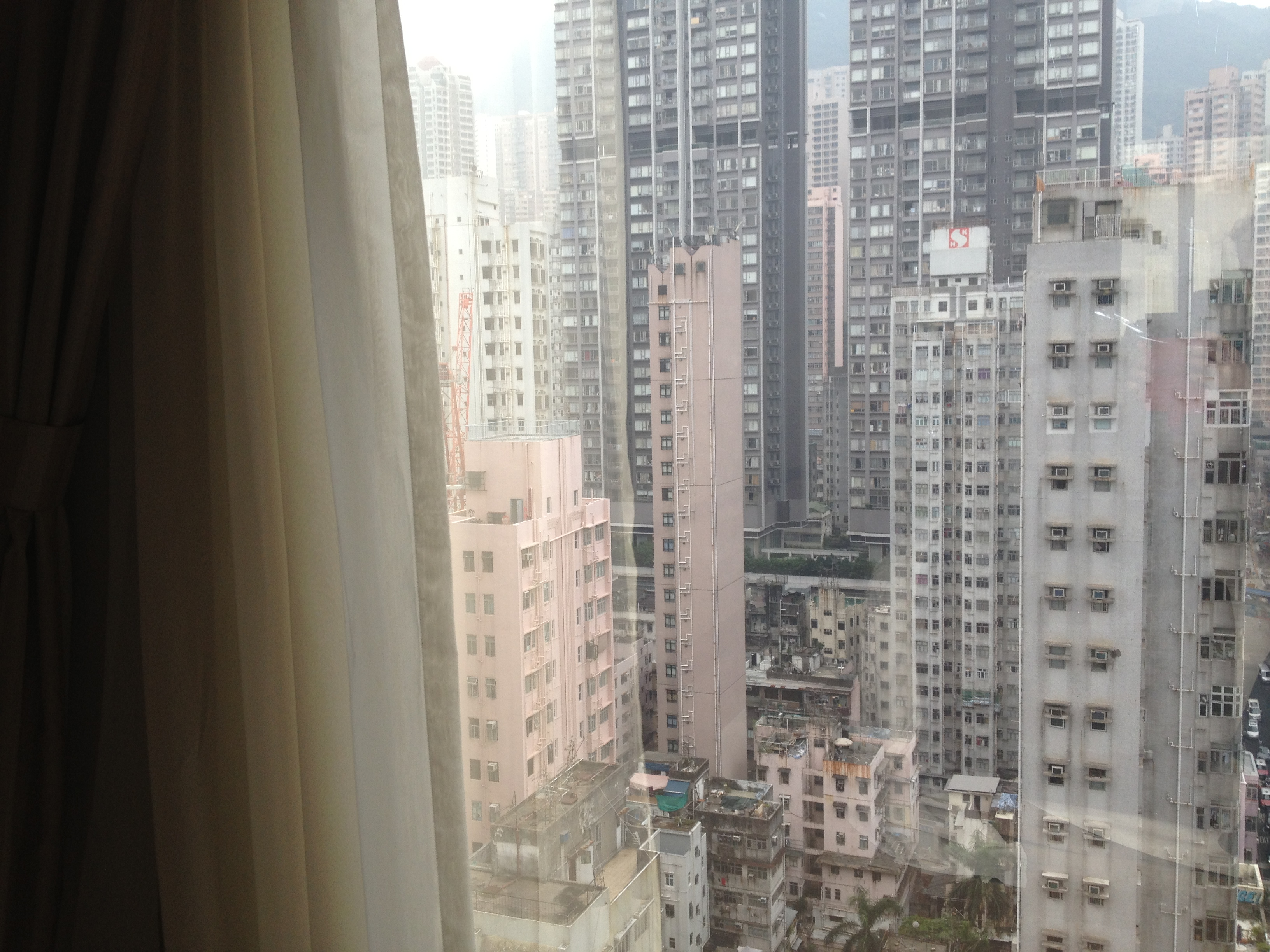 view of downtown hong kong from window