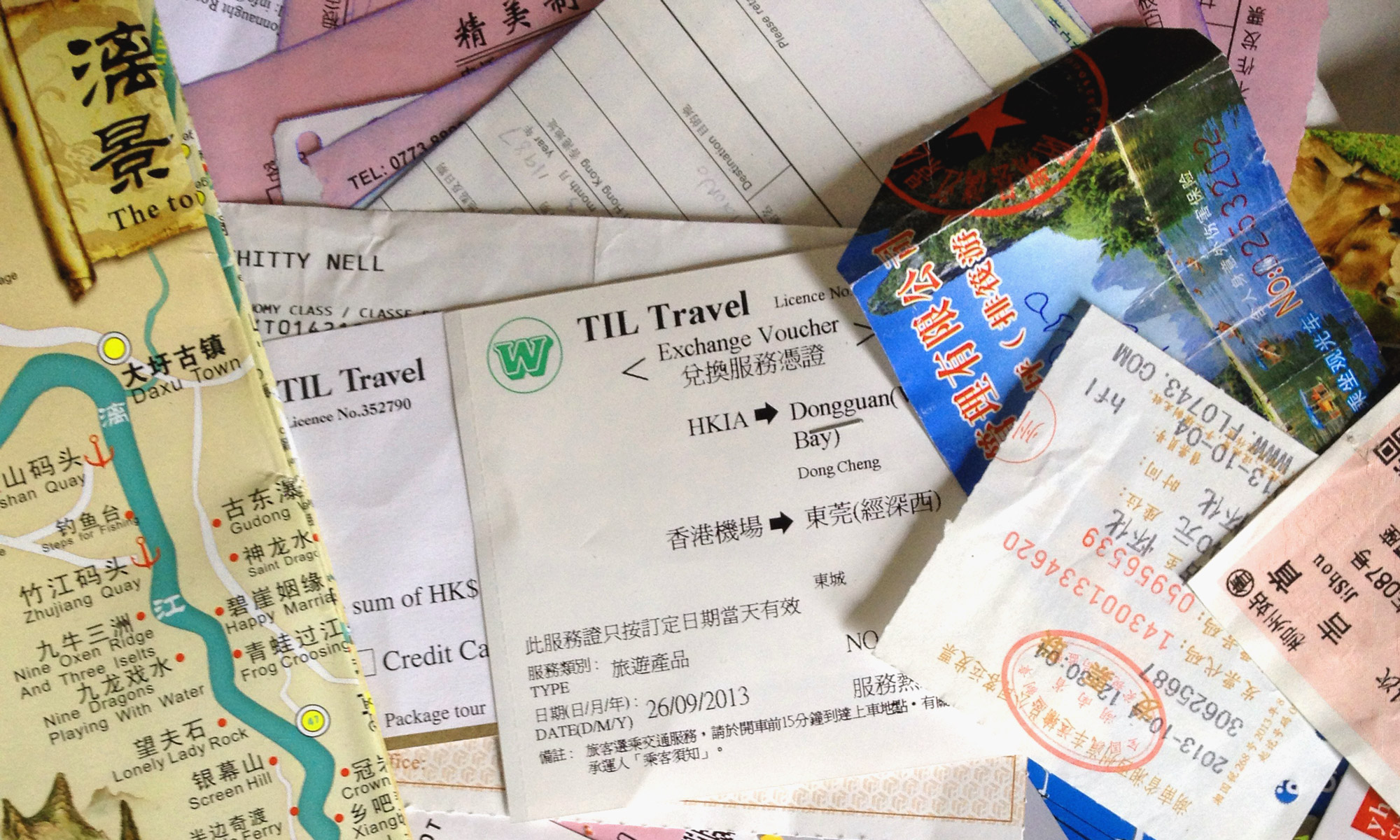 Photo of tickets and receipts from China