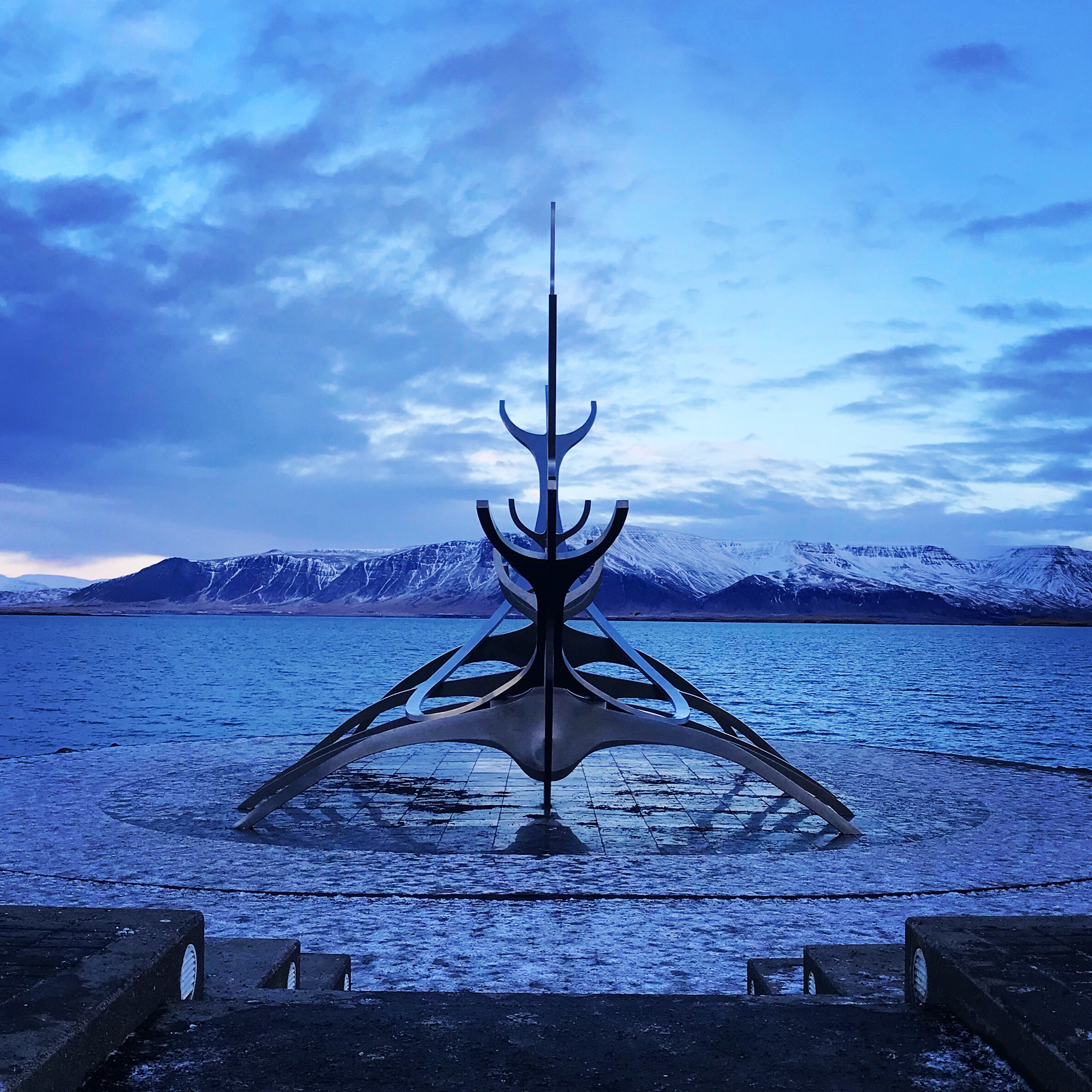 Photo of a sculpture of a Viking ship